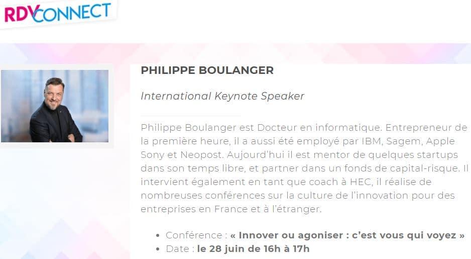 RDVConnect Philippe Boulanger conférencier innovation